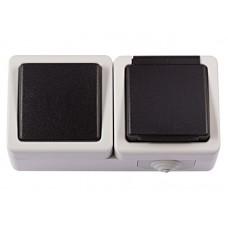 Блок розетка с/з и крышкой + выключатель LUXEL DEBUT 6532