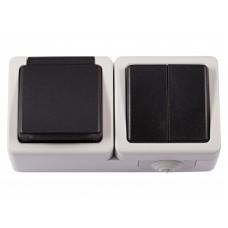 Блок розетка с/з и крышкой + выключатель двойной LUXEL DEBUT 6533